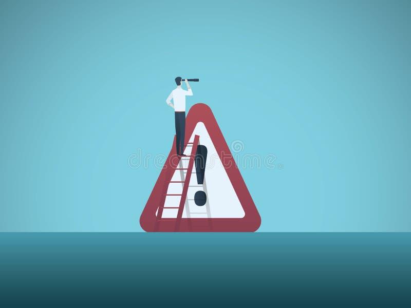 Avertissement de risque commercial ou de danger avec l'homme d'affaires et le grand signe Symbole de récession, faillite illustration de vecteur