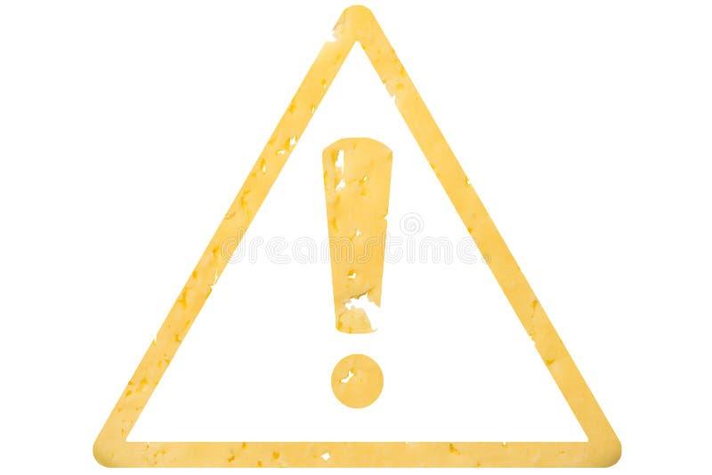 Avertissement de symbole coupé du fromage, comme signe de nourriture dangereuse, sanctions sur le fond d'isolement blanc illustration de vecteur