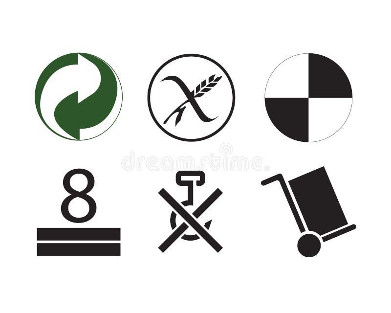 Avertissement et réutilisation de empaquetage de symbole de la scénographie de vecteur illustration stock