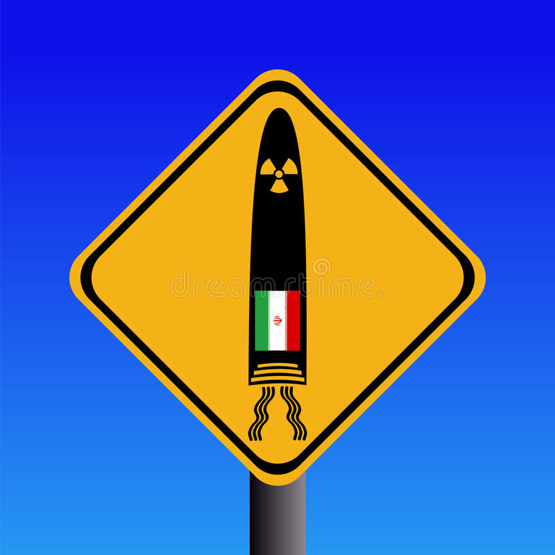avertissement iranien de signe de missile illustration stock