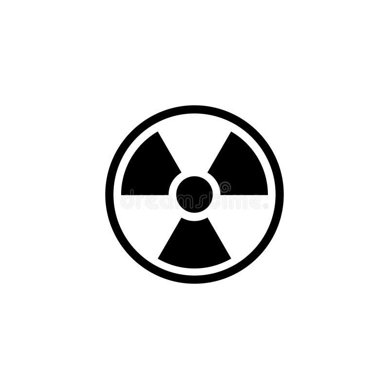 Avertissement radioactif, icône plate de vecteur de rayonnement illustration libre de droits