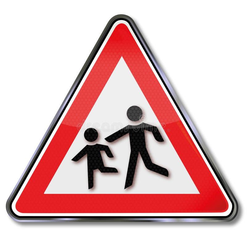 Avertissez les enfants et le jeu de boule sur la route illustration libre de droits