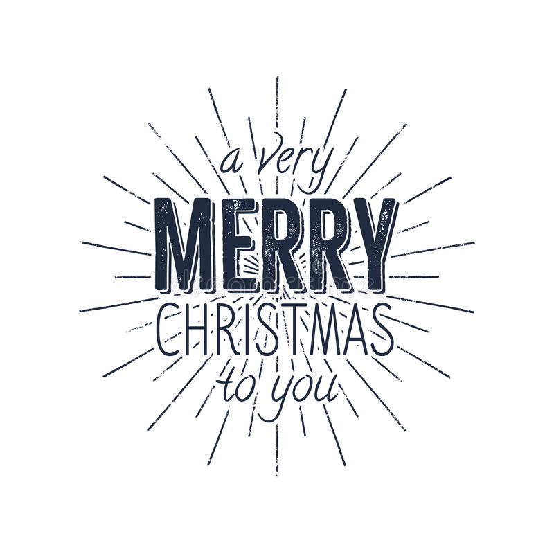 Avery Merry Christmas zu Ihnen Typografieaufkleber Retro- Fotoüberlagerung, Ausweis Vektorfeiertags-Beschriftungsillustration Wei vektor abbildung
