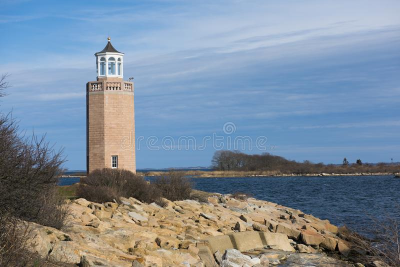 Avery Point Lighthouse. Is Connecticut`s youngest lighthouse situated in the University of Connecticut campus stock photo