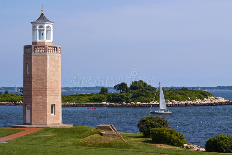 Avery Point Lighthouse. Is Connecticut's youngest lighthouse situated in the University of Connecticut campus stock image