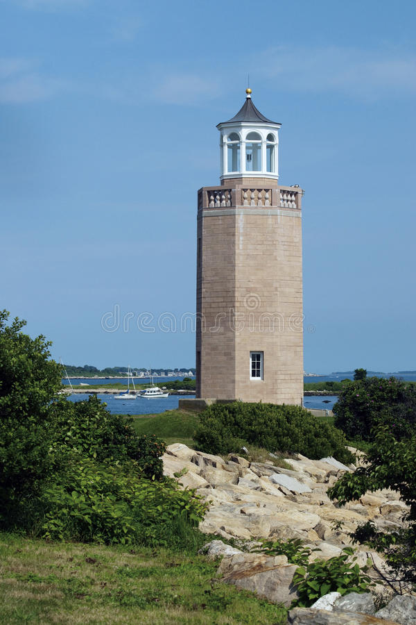 Avery Point Lighthouse in Groton, Connecticut. Avery Point lighthouse was the last lighthouse to be built in 1943 and is situated on the University of royalty free stock image