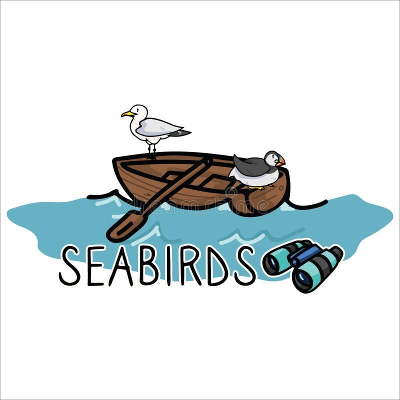 Aves marinas lindas en sistema del adorno del ejemplo del vector de la historieta del barco Clipart aislado exhausto de los eleme libre illustration