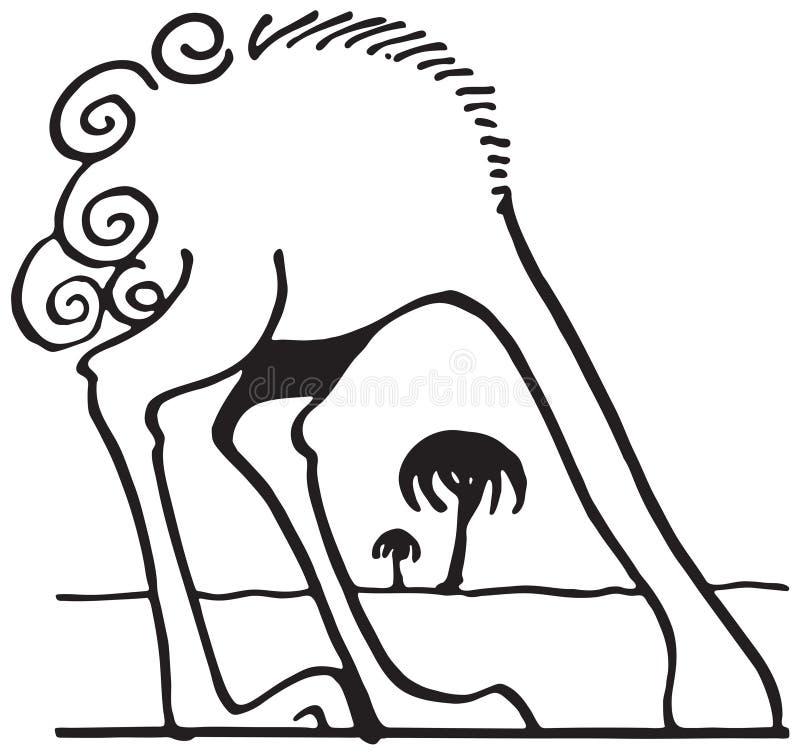 Avestruz com cabeça na areia ilustração royalty free