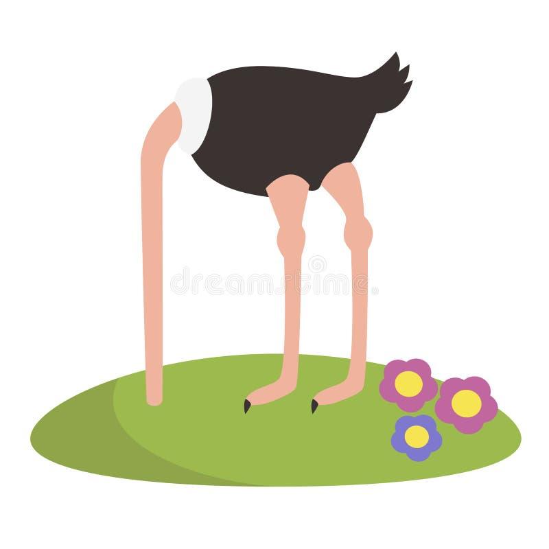 Avestruz engraçada do vetor que esconde sua cabeça ilustração do vetor
