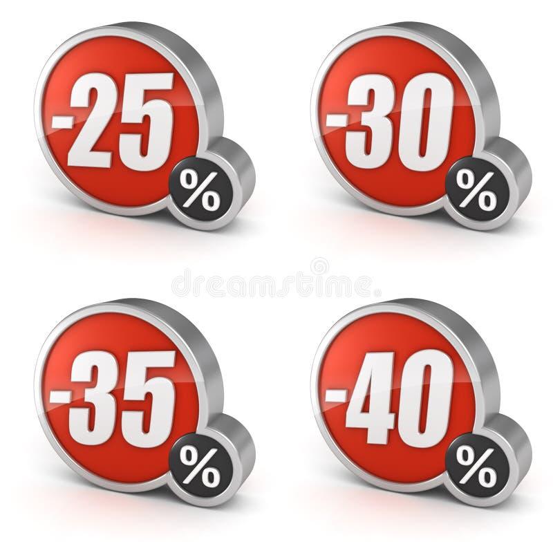 Avfärda symbolen för den 25% 30% 35% 40% försäljningen 3d på vit bakgrund royaltyfri illustrationer