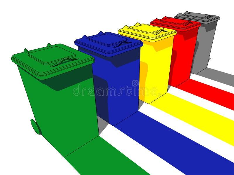 avfall för cans fem royaltyfri illustrationer