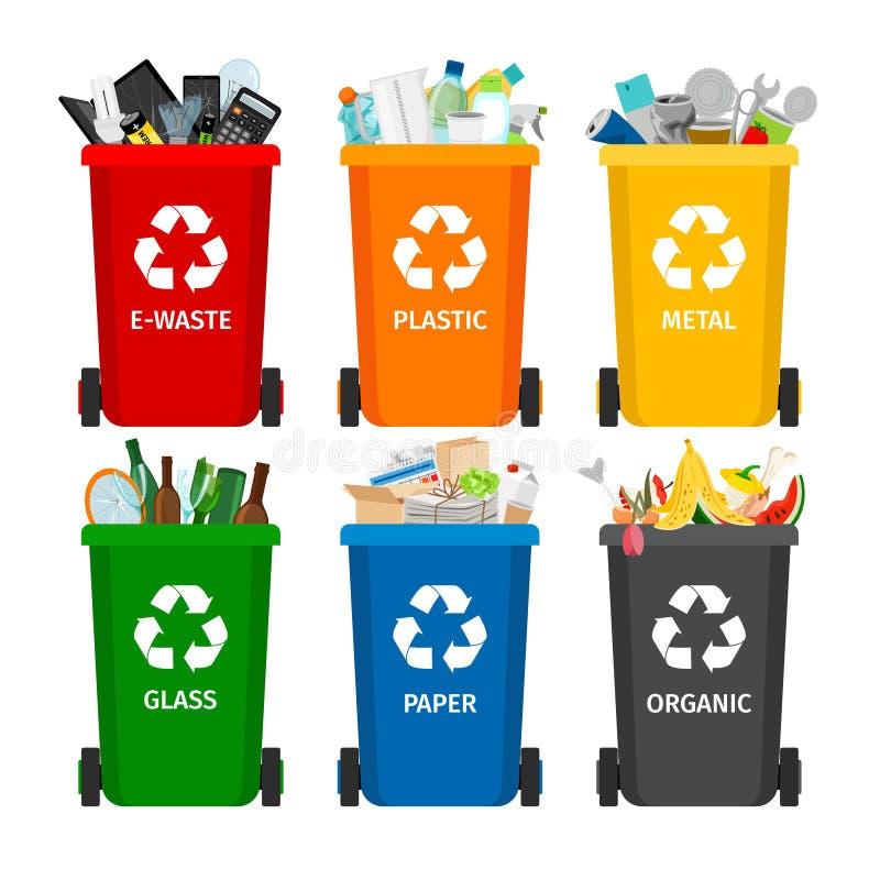 Avfall i soptunnor med sorterad avskräde Samling för återvinningavskrädeavskiljande och återanvänt royaltyfri illustrationer