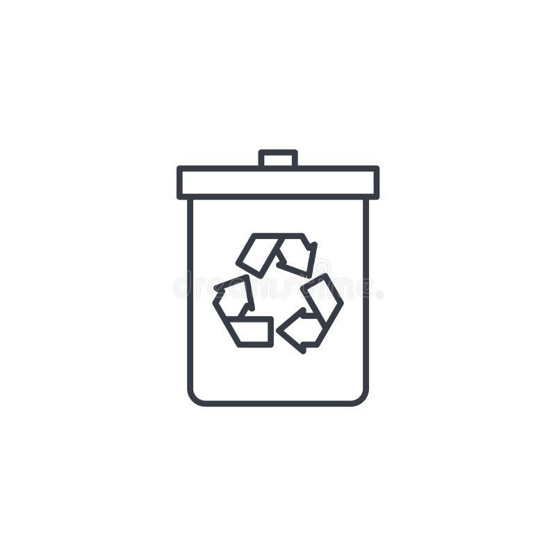 Avfall som återanvänder den tunna linjen symbol Linjärt vektorsymbol royaltyfri illustrationer