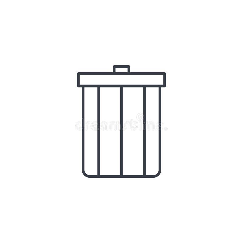 Avfall tunn linje symbol för avskräde Linjärt vektorsymbol royaltyfri illustrationer
