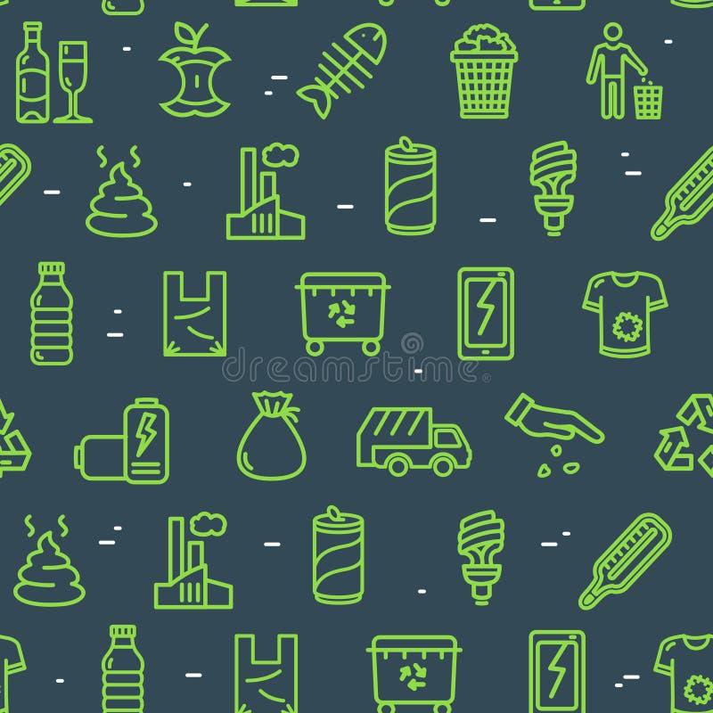 Avfall undertecknar sömlös modellbakgrund vektor royaltyfri illustrationer