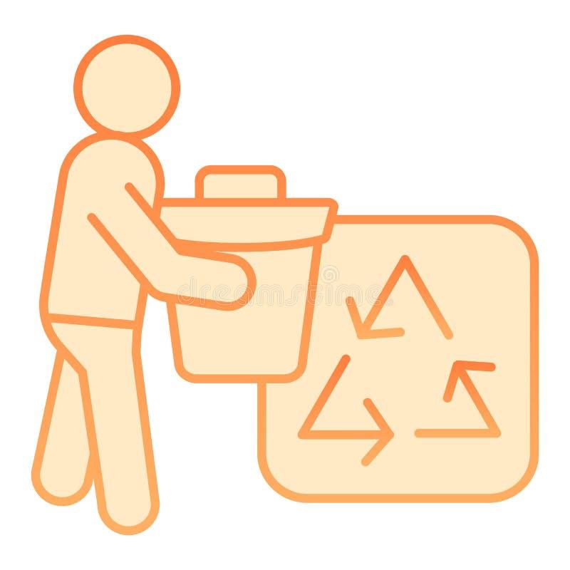 Avfallfack och att återanvända den plana symbolen för tecken Orange symboler för miljö i moderiktig plan stil Avskräde som återan royaltyfri illustrationer