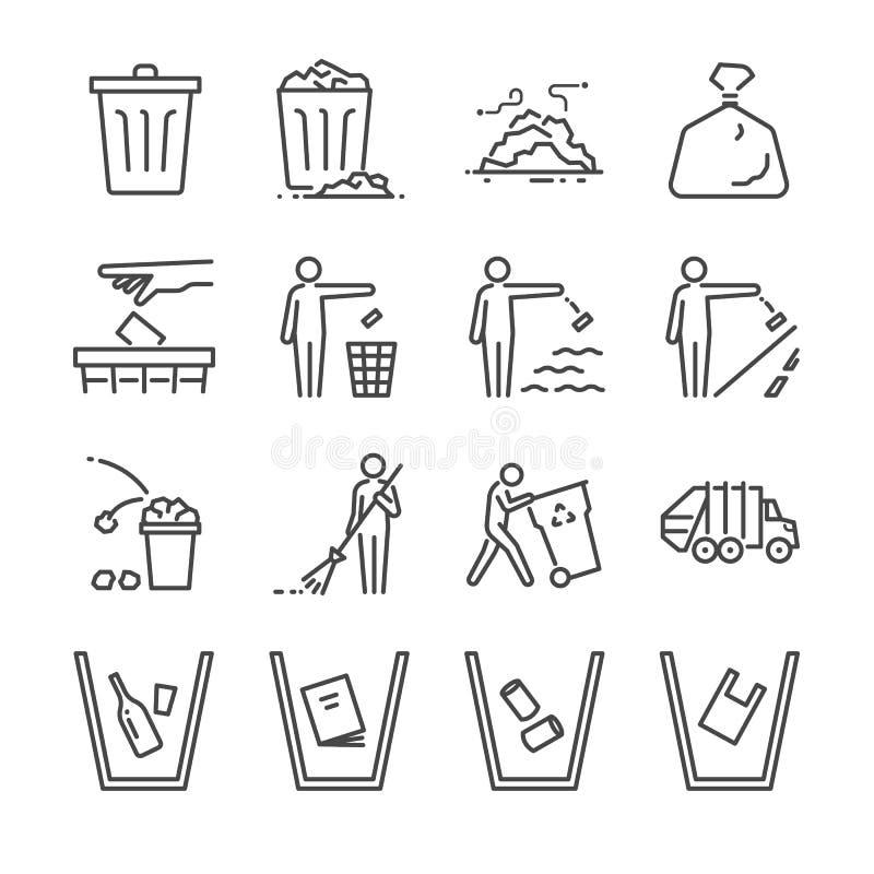 Avfalllinje symbolsuppsättning Inklusive symbolerna som avskräde, förrådsplats, avskräden, fack, svep, kull och mer royaltyfri illustrationer