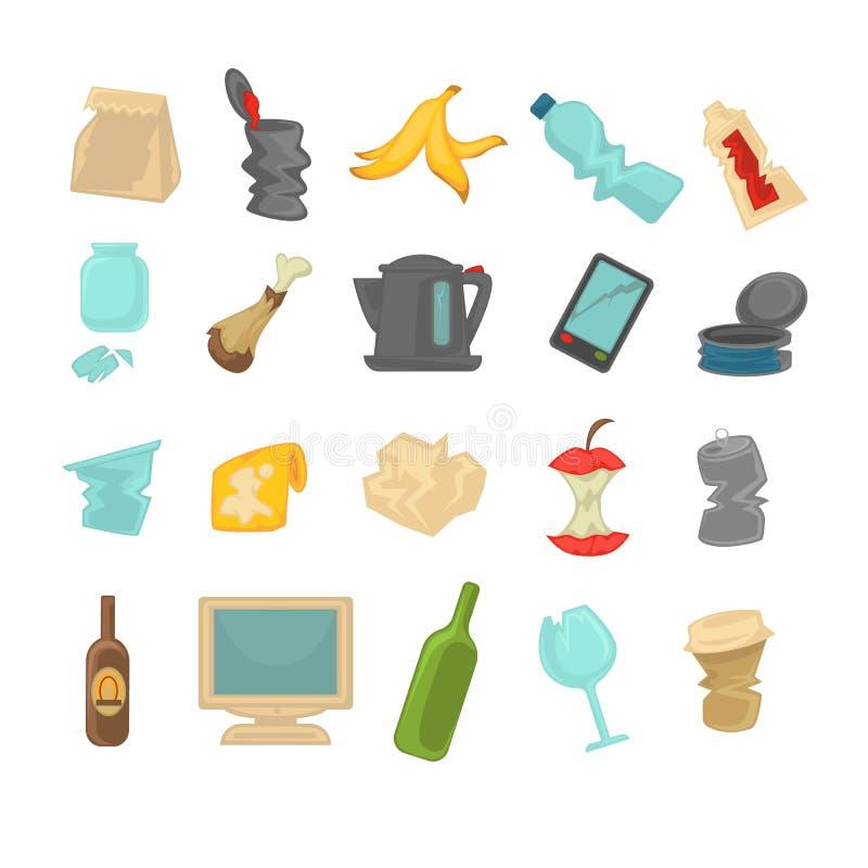 Avfalls för avskrädesorteringmat, exponeringsglas, metall och papper royaltyfri illustrationer