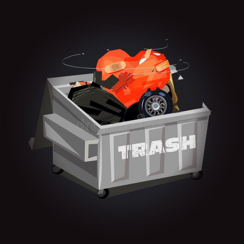 Avfallscontainer mycket av avskräde med hjärta - vektor vektor illustrationer