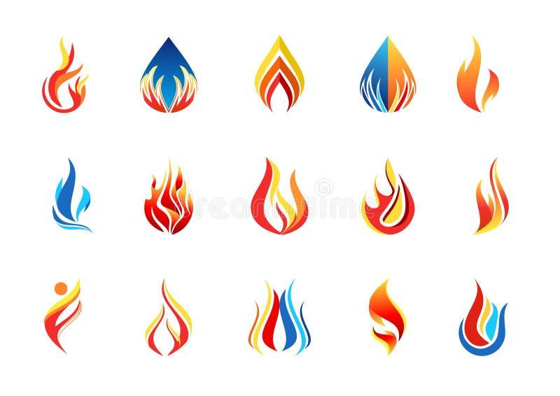 Avfyra flammalogoen, modern vektor för design för symbol för symbol för flammasamlingslogotyp stock illustrationer