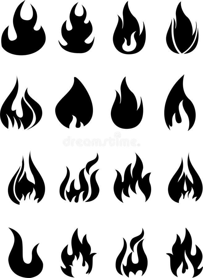 Avfyra flammar, fastställda symboler royaltyfri illustrationer
