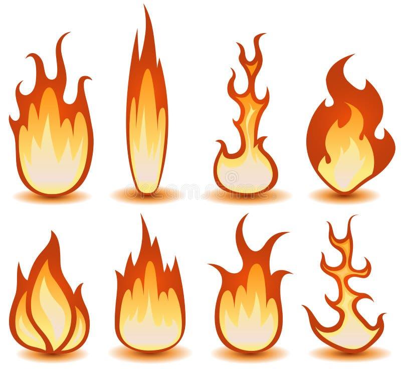 Avfyra och flammar fastställda symboler royaltyfri illustrationer