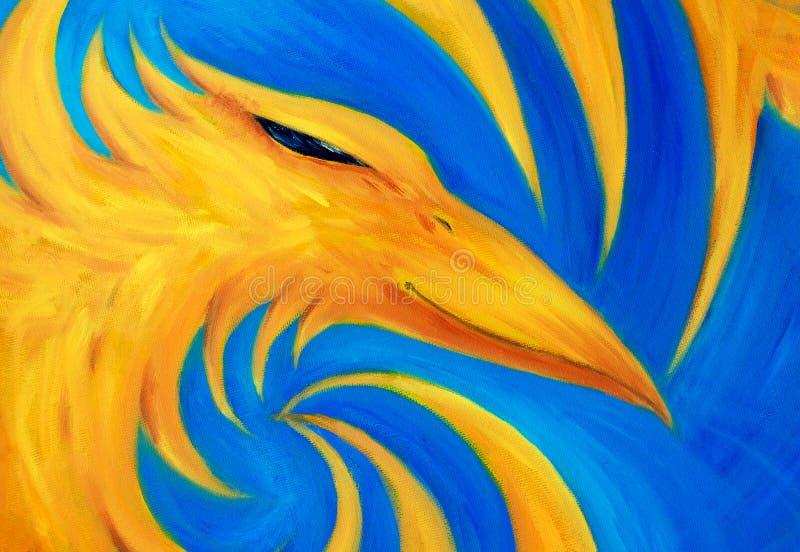 Avfyra phoenix på blå bakgrund, original- olje- målning, phoenix är gul färg royaltyfri illustrationer
