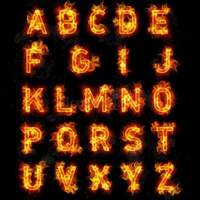 Avfyra stilsortstext alla bokstäver av alfabetet på svart bakgrund stock illustrationer