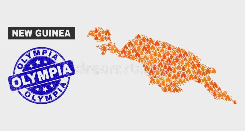 Avfyrad mosaisk New Guinea översikt och att bedröva Olympia Seal vektor illustrationer