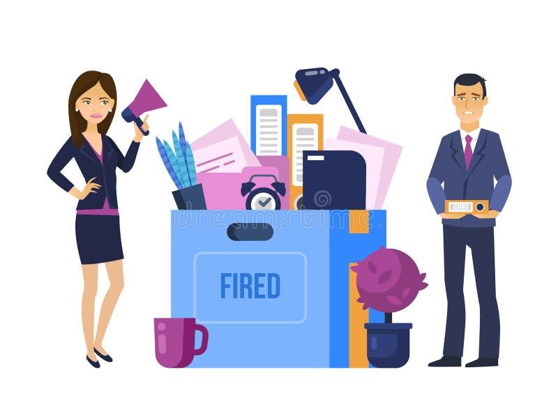 Avfyrat avskedande från arbete Den Head chefen, kvinna avfärdar kontorsarbetaren vektor illustrationer