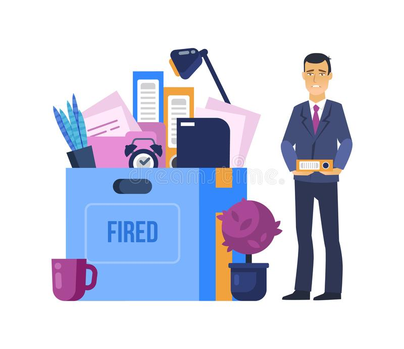 Avfyrat avskedande från arbete Person för tecken för tecknad film för kontorsarbetare royaltyfri illustrationer