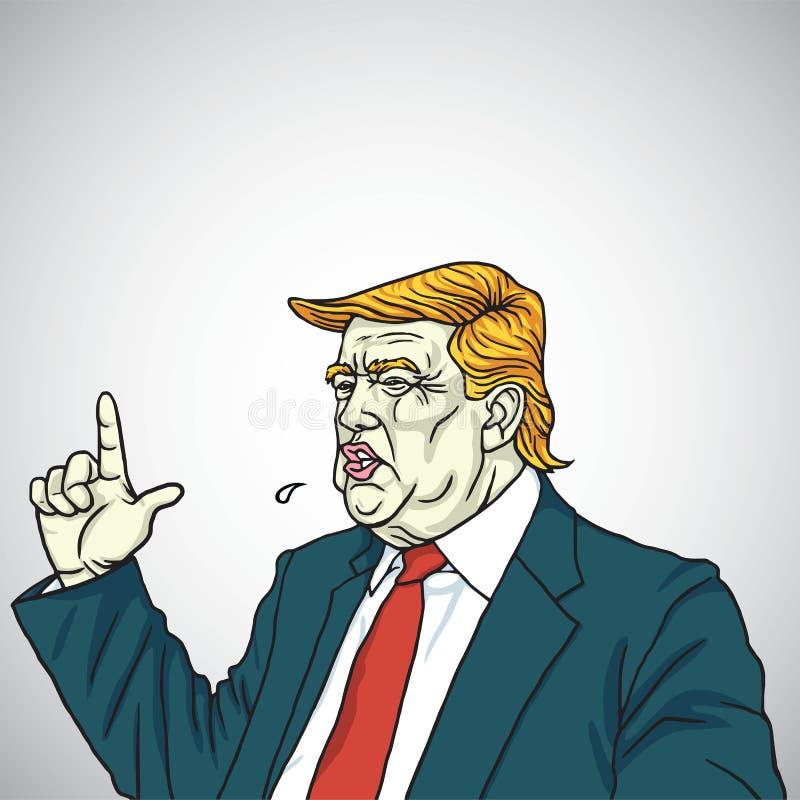 Avfyrat beträffande för Donald Trump Headshot Shouting You ` Ståendetecknad filmvektor Juni 2, 2017 royaltyfri illustrationer
