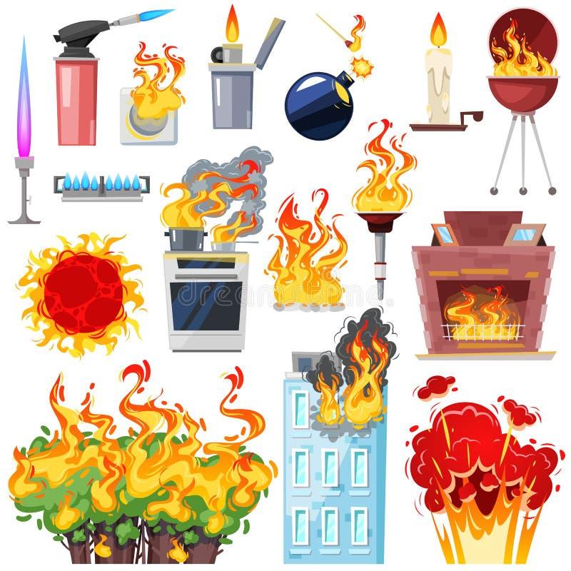 Avfyrat hus för brand vektor med bränt brännhett rökigt kök för dörr i varm uppsättning för flammaeldsvådaillustration av tändare stock illustrationer