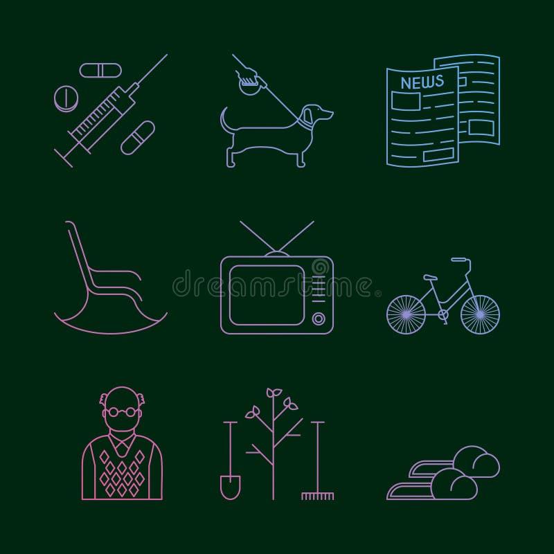 Avgångsymbolsuppsättning royaltyfri illustrationer