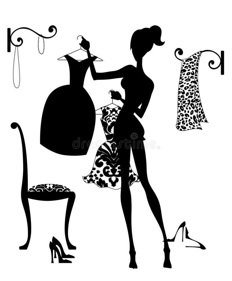 Avgöra vad för att bära royaltyfri illustrationer