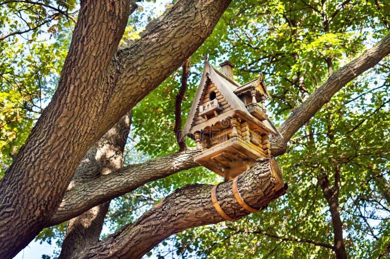 Aviário pequeno de madeira da cabana em uma árvore entre as folhas Wo cinzelado imagem de stock royalty free