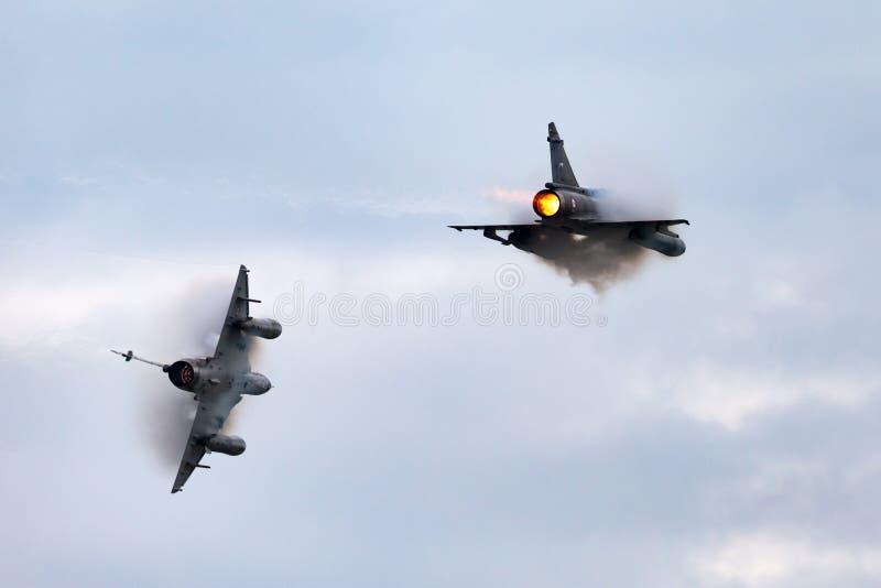 Aviões de lutador multirole franceses da miragem 2000N de Armee De L'Air Dassault da força aérea imagem de stock royalty free