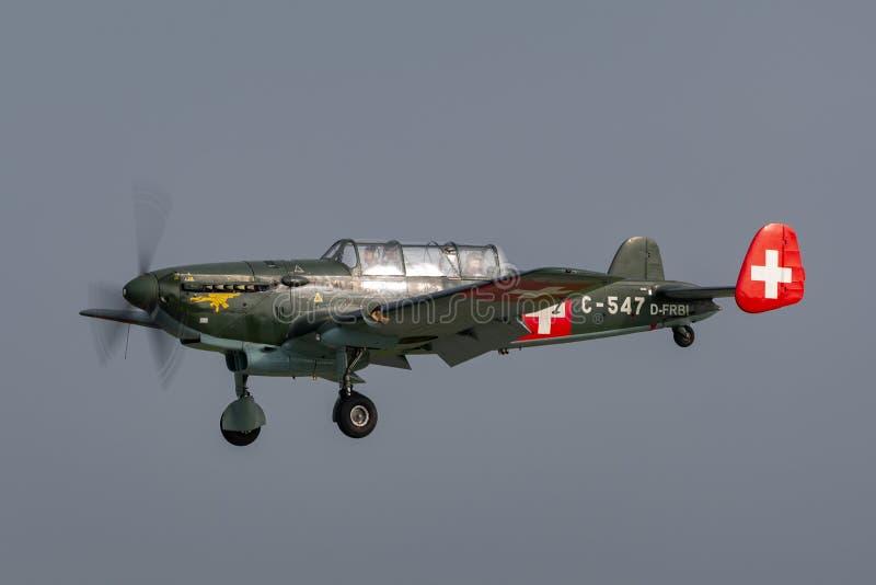 Aviões de múltiplos propósitos suíços da força aérea EKW C-36 construídos no 1930's e no 1940's foto de stock