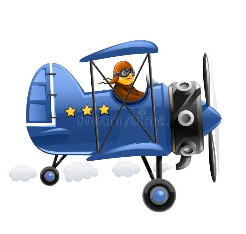 Avião azul com piloto ilustração stock