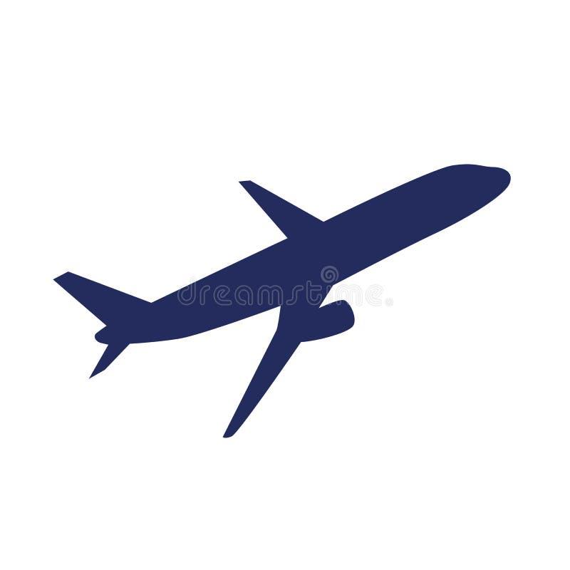 Avião azul do passageiro isolado em um fundo branco ilustração royalty free