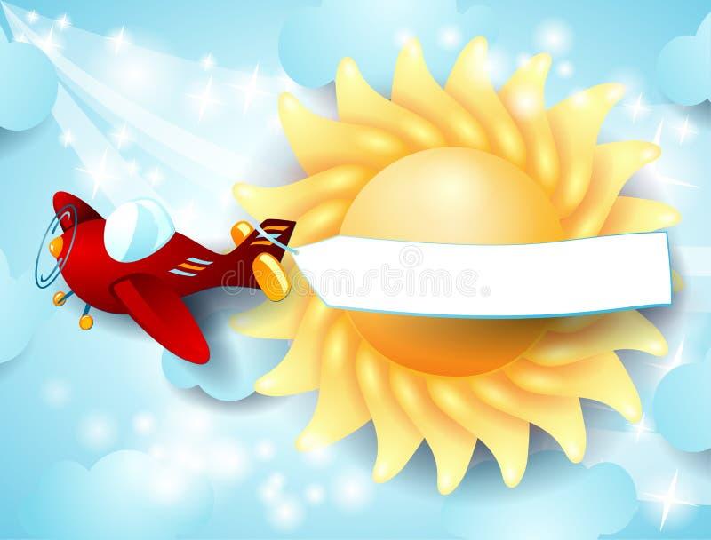 Avião, bandeira e sol ilustração stock