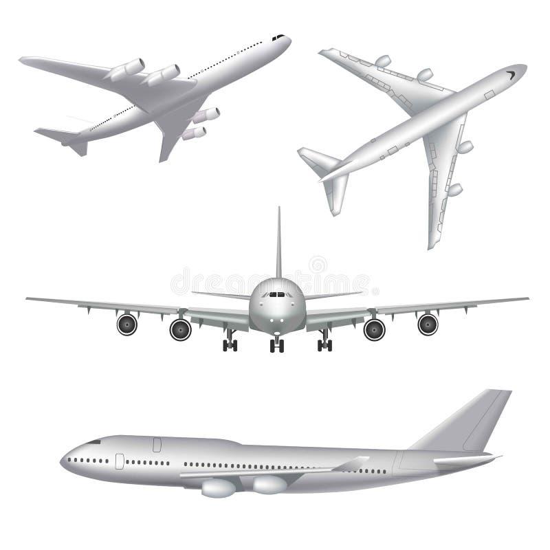 Avião branco altamente detalhado em um fundo branco O avião no perfil, da vista dianteira e superior isolou o vetor ilustração do vetor