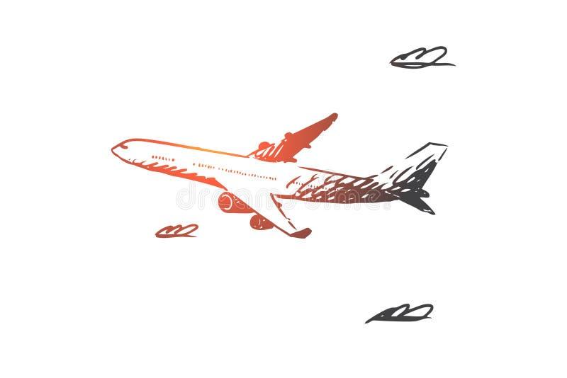 Avião, céu, voo, transporte, conceito da viagem Vetor isolado tirado mão ilustração royalty free