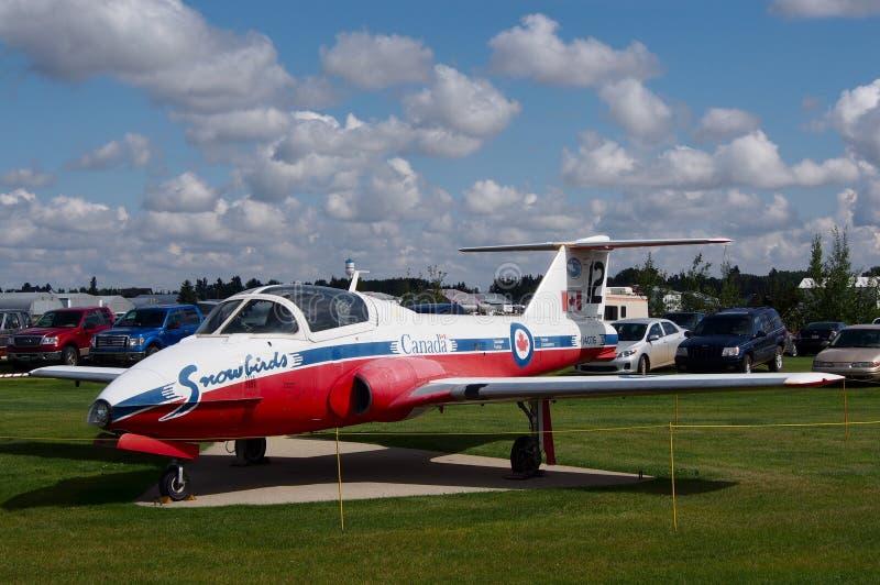 Avião canadense do Snowbird em Alberta Museum Wetaskiwin de Reynold fotografia de stock