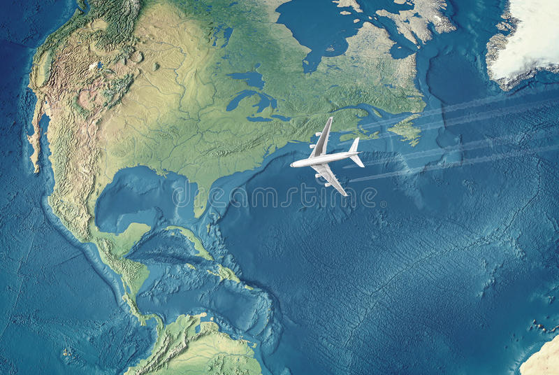 Avião civil branco sobre o Atlântico ilustração royalty free