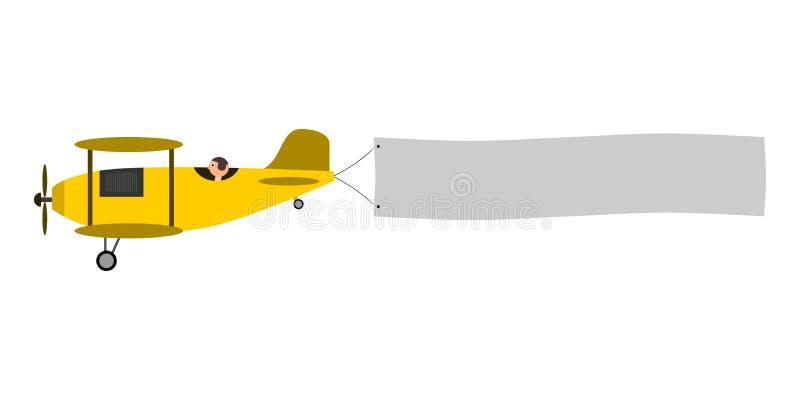 Avião com bandeira da mensagem fotografia de stock royalty free