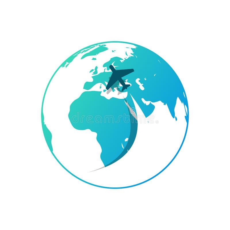 Avião com fluxo de ar no fundo do globo azul ilustração stock