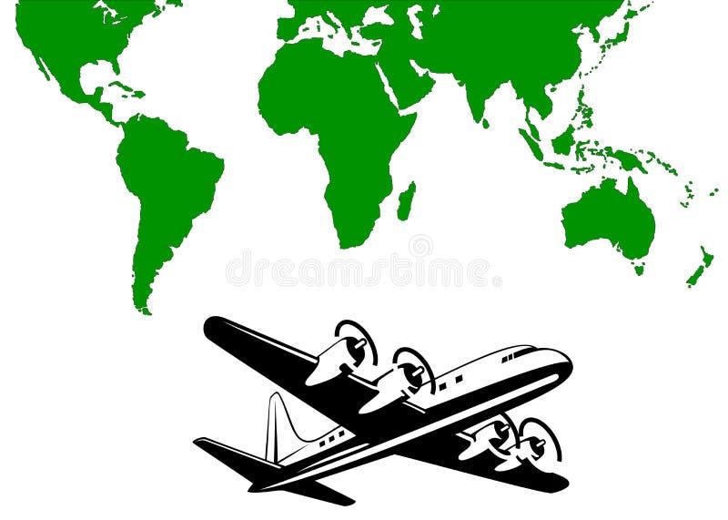 Avião com mapa de mundo ilustração do vetor