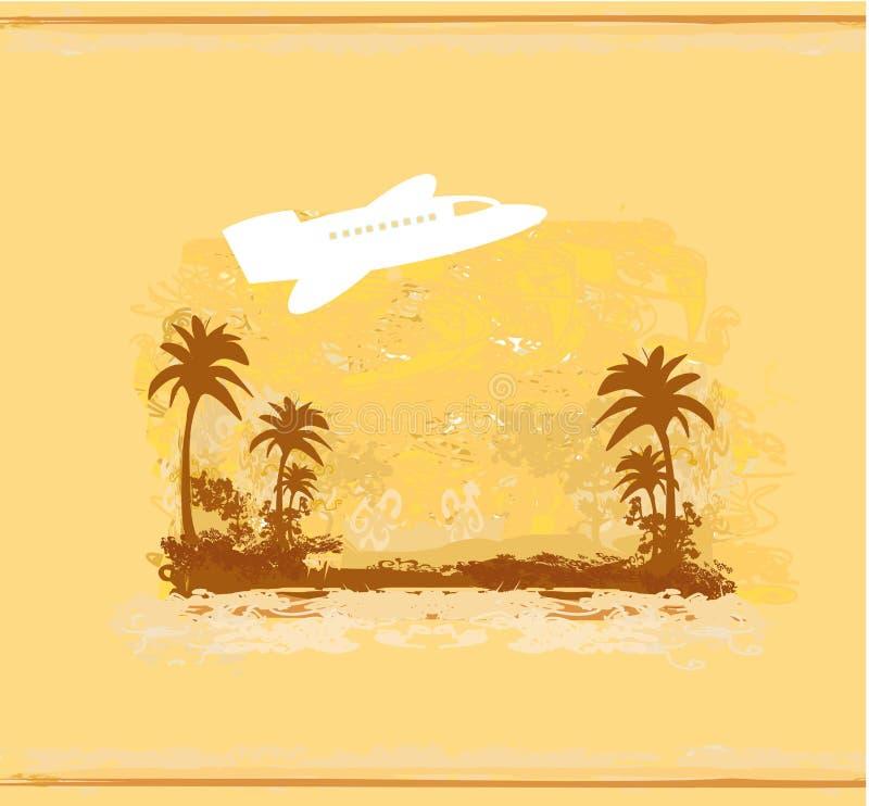 Avião com a palma dos trópicos ilustração do vetor