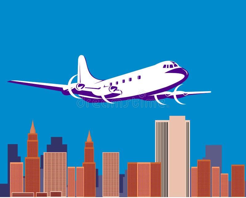 Avião com skyline ilustração do vetor